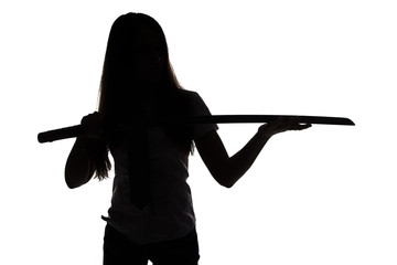 Silhouette of woman looking at blade