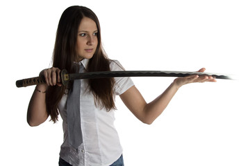 Photo of young woman looking at blade