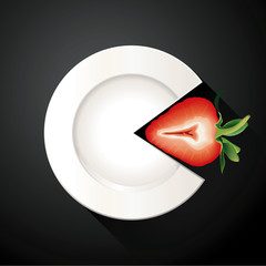 Vector of White Plate and Strawberry Pie Chart Info Graphic