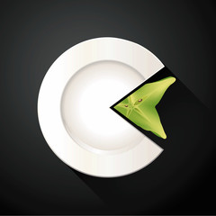 Vector of White Plate and Star Fruit Pie Chart Info Graphic