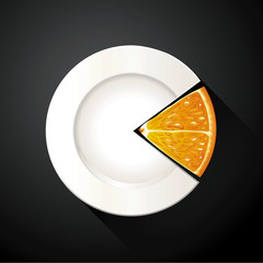 Vector of White Plate and Oragn Pie Chart Info Graphic