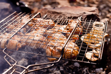 Barbecue in autumn forest