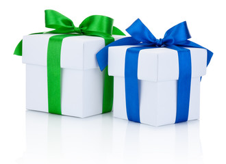 Two White boxs tied blue and green ribbons bow Isolated on white