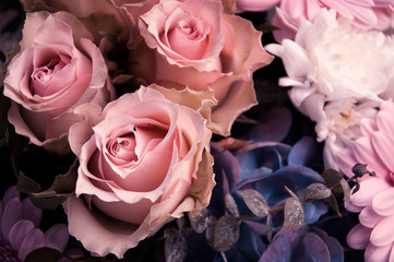 Light-pink roses in a bouquet closeup from above