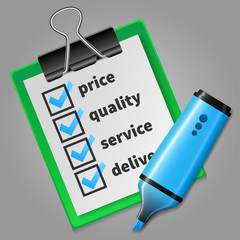 Blue felt tip pen and green checklist