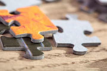 Closeup of Jigsaw Puzzle Pieces