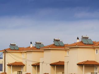 Solar water heaters on apartment roof