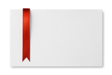 Red bookmark on empty paper card