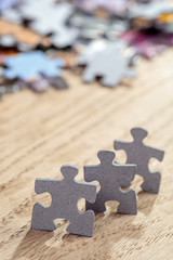 Three Jigsaw Puzzle Pieces on Table