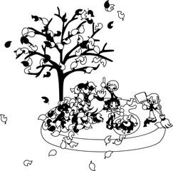 今日は大晦日。たくさんの落ち葉を拾って、庭を綺麗にしよう。