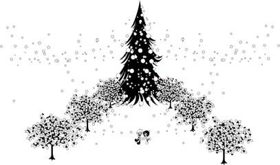 大きなツリーとイルミネーション。恋人と二人だけの世界。