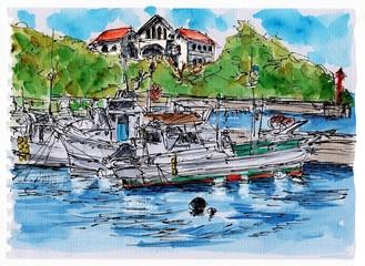 入り江の舟