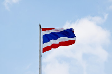 Flag of Thailand waving with blue sky