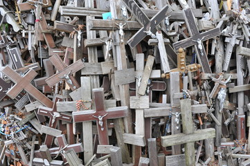 Detail from the Hill of Crosses in Lithuania.