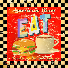 retro diner sign, worn and weathered, vector eps