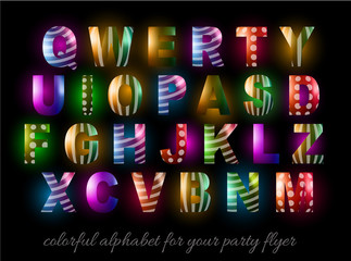 Funny Colorful Alphabet for party flyers