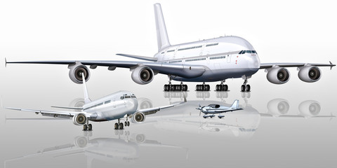 Passagierflugzeuge - Größenvergleich, freigestellt