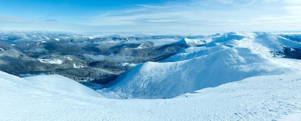 Morning winter mountain panorama (Carpathian, Ukraine).