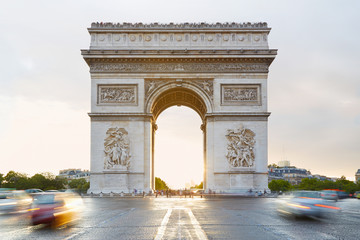 Arc de Triomphe in Paris, sunlight