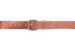 Brown leather belt with buckle on white, clipping path - 71824817