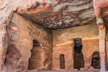 rocks caves in Nabatean city of  Petra Jordan