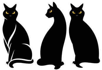 halloween black cats set