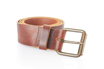 Leather belt isolated on white, clipping path