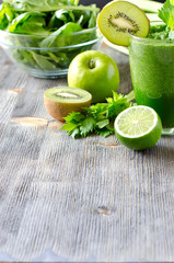 Healthy green smoothie beverage with spinach and celery copy spa