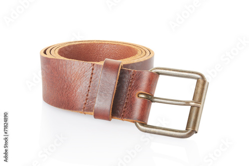 canvas print picture Leather belt isolated on white, clipping path