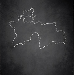 Tajikistan map blackboard chalkboard vector