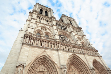 Notre Dame cathedral in Paris, low angle view