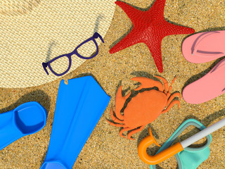 summer background with beach objects