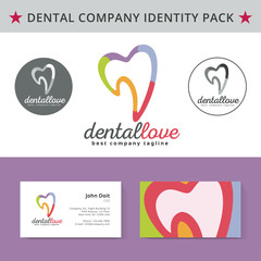Abstract dentist tooth identity pack vector concept. Logo, vizit