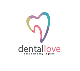 Abstract vector tooth logo icon similar human heart concept.