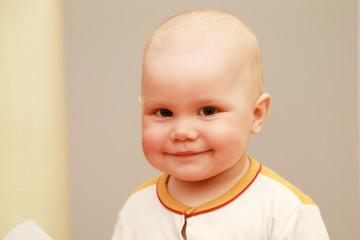 Closeup portrait of smiling Caucasian baby