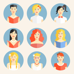 Flat icons with portraits of fashionable women