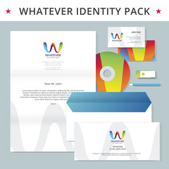 Abstract letter W identity pack vector concept. Logo, vizit