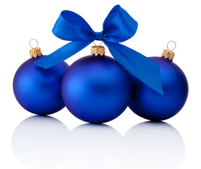 Three Blue Christmas balls with ribbon bow Isolated on white bac
