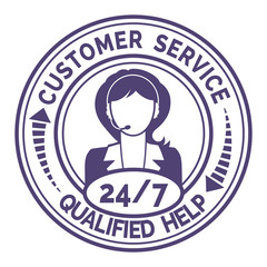 Round icon for non stop customer service  on white