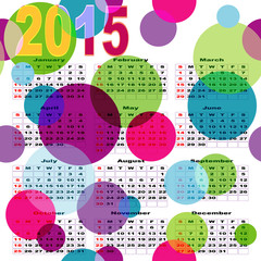 Calendar with bright colored balls