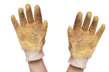 hands with gloves isolated on white