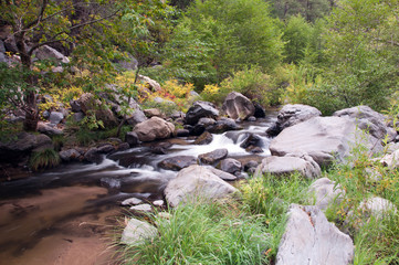 Water flowing through Oak Creek near Sedona, Arizona.