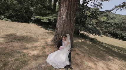Beautiful groom and bride in a white dress sitting in the park