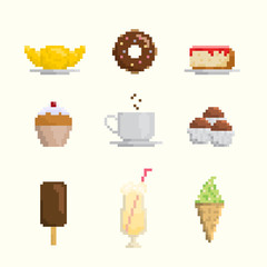 Pixel art dessert and sweets icon set
