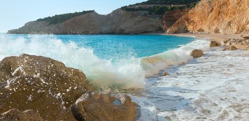 Surf wave on Porto Katsiki beach (Lefkada, Greece)