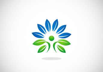 people spa plant decoration vector logo