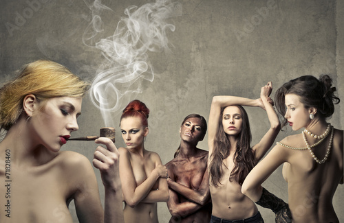 canvas print picture Five women