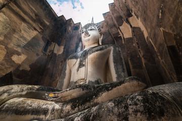 The big buddhist statue, Phra Ajana, at Wat Si Chum, Sukhothai