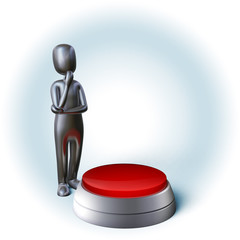 Silver Character thinking about decision pushing blank buzzer