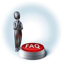 Silver Character thinking about decision pushing faq buzzer